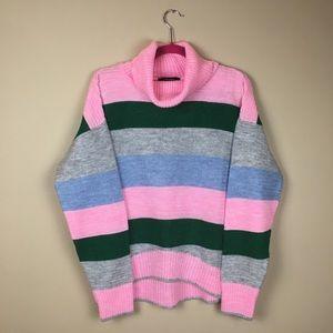 NWT Striped Pink Grey Green Knit Sweater L